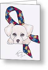 Autism Awareness And Puppy Love Greeting Card