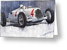 Auto Union C Type 1937 Monaco Gp Hans Stuck Greeting Card