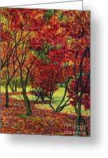 Autum Red Woodlands Painting Greeting Card