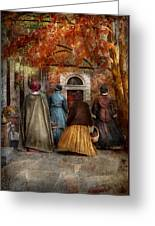 Autumn - People - A Walk Downtown  Greeting Card