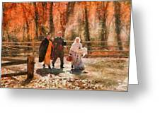 Autumn - People - A Walk In The Countryside Greeting Card