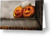 Autumn - Pumpkins - Two Goofy Pumpkins Greeting Card