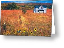 Autumn Abandoned House In The Prairie Greeting Card