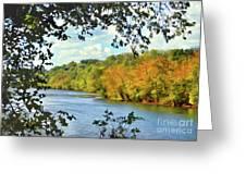 Autumn Along The New River - Bisset Park - Radford Virginia Greeting Card