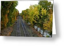 Autumn Along The Tracks Greeting Card