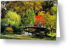 Autumn At Lafayette Park Bridge Square Greeting Card