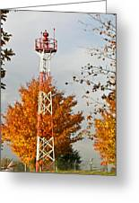 Autumn At The Airport Light Tower Greeting Card