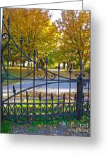 Autumn At The Gates Of Lafayette Park Portrait Greeting Card