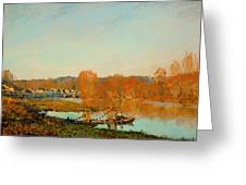 Autumn Banks Of The Seine Near Bougival Greeting Card