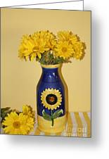 Autumn Blossoms And Blue Vase Greeting Card