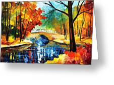 Autumn Calm 2 - Palette Knife Oil Painting On Canvas By Leonid Afremov Greeting Card