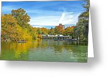 Autumn Central Park Lake And Boathouse Greeting Card