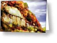 Autumn Cliffs On Way To Hannibal, Missouri Greeting Card