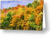 Autumn Country On A Hillside II - Digital Paint Greeting Card