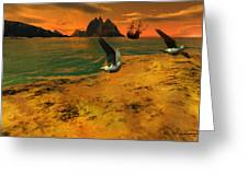 Autumn Evening In The Beach Greeting Card