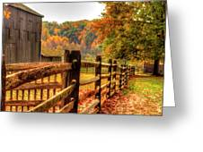 Autumn Fence Posts Scenic Greeting Card