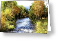 Autumn Harvest Along The River Greeting Card