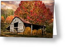 Autumn Hay Barn Greeting Card