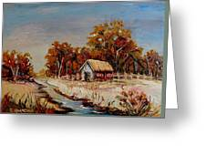 Autumn House By The Stream Greeting Card