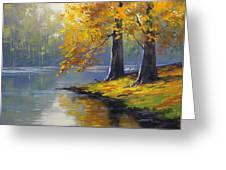 Autumn Lake Print Greeting Card by Graham Gercken