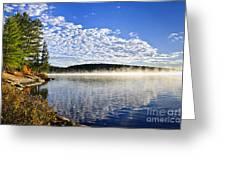 Autumn Lake Shore With Fog Greeting Card by Elena Elisseeva