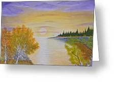 Autumn Lake Sunset  Greeting Card