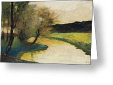 Autumn Landscape Of Brook In The Evening Light Greeting Card