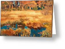 Autumn Landscape With Fox Greeting Card