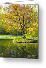 Autumn Landscape With Red Tree Greeting Card