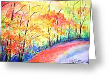 Autumn Lane Iv Greeting Card