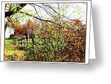 Autumn Leaves Against A Fence Greeting Card