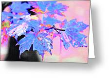 Autumn Leaves In Blue Greeting Card