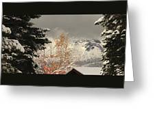 Autumn Leaves Winter Snow Greeting Card