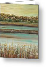 Autumn Marsh And Bird Greeting Card