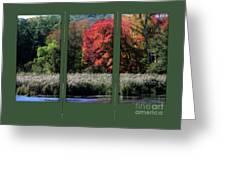Autumn Marsh Through A Window Greeting Card