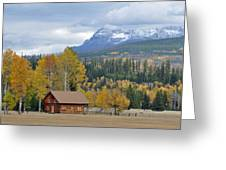 Autumn Mountain Cabin In Glacier Park Greeting Card by Bruce Gourley