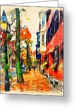 Autumn On The Streets Of Boston Greeting Card