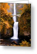 Autumn Orange Multnomah Falls Greeting Card