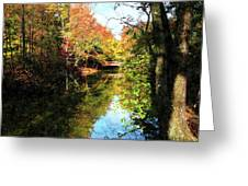 Autumn Park With Bridge Greeting Card