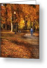 Autumn - People - A Walk In The Park Greeting Card