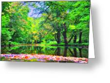 Autumn Pond In Gladwyne Greeting Card by Bill Cannon