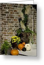 Autumn Porch Scene Greeting Card