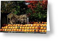 Autumn Pumpkins And Cornstalks Graphic Effect Greeting Card