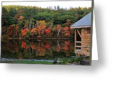 Autumn Reflections And Cabin On Baker Pond Greeting Card