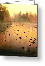 Autumn River Fog Greeting Card