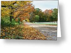 Autumn Road With Fence  Greeting Card