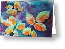 Autumn Rose Leaves Greeting Card