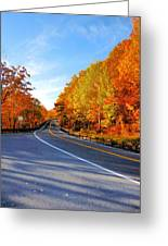 Autumn Scene With Road In Forest 2 Greeting Card