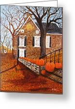 Autumn Stone House Greeting Card