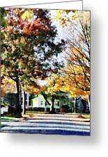 Autumn Street With Yellow House Greeting Card